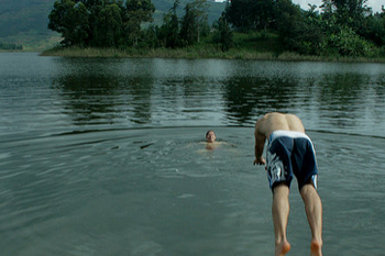 swimming in lake bunyonyi